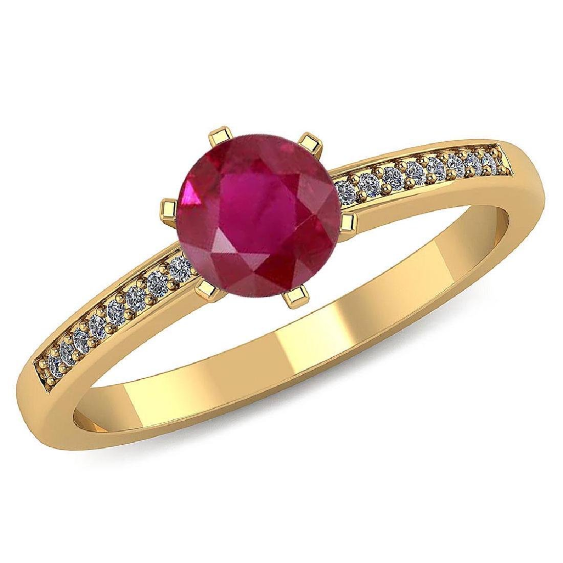 Certified 1.00 CTW Genuine Ruby And Diamond 14K Yellow