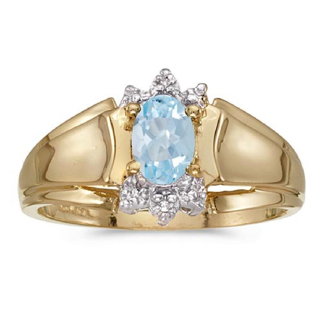 Certified 14k Yellow Gold Oval Aquamarine And Diamond R