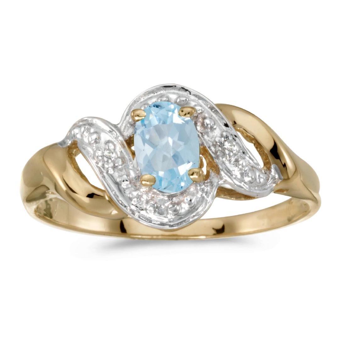 Certified 14k Yellow Gold Oval Aquamarine And Diamond S