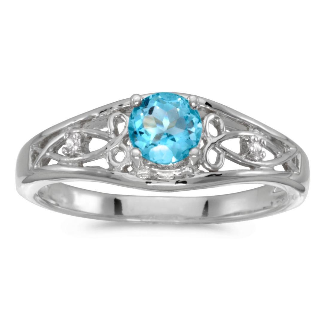 Certified 14k White Gold Round Blue Topaz And Diamond R