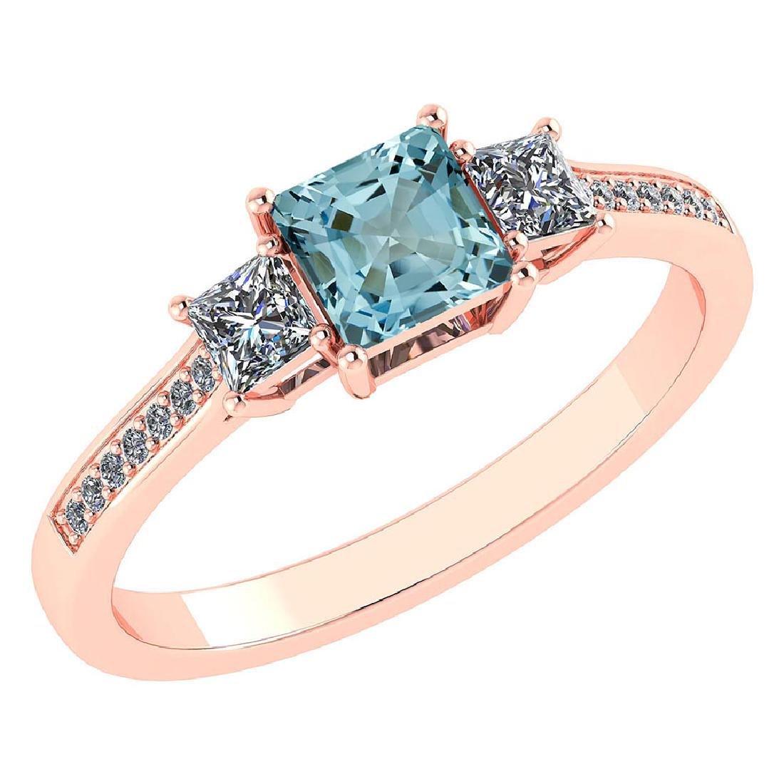 Certified 1.18 CTW Genuine Aquamarine And Diamond 14K R