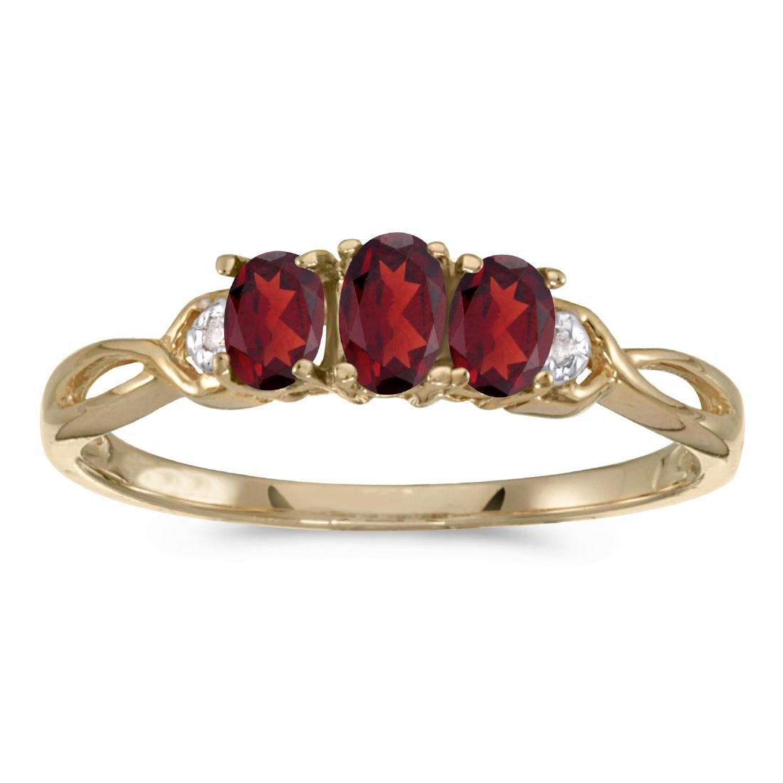 Certified 10k Yellow Gold Oval Garnet And Diamond Three
