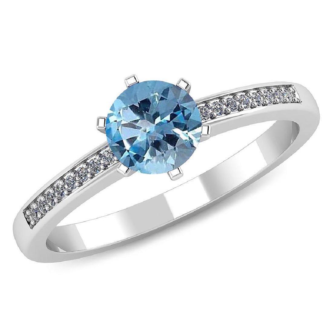 Certified 1.00 CTW Genuine Aquamarine And Diamond 14K W