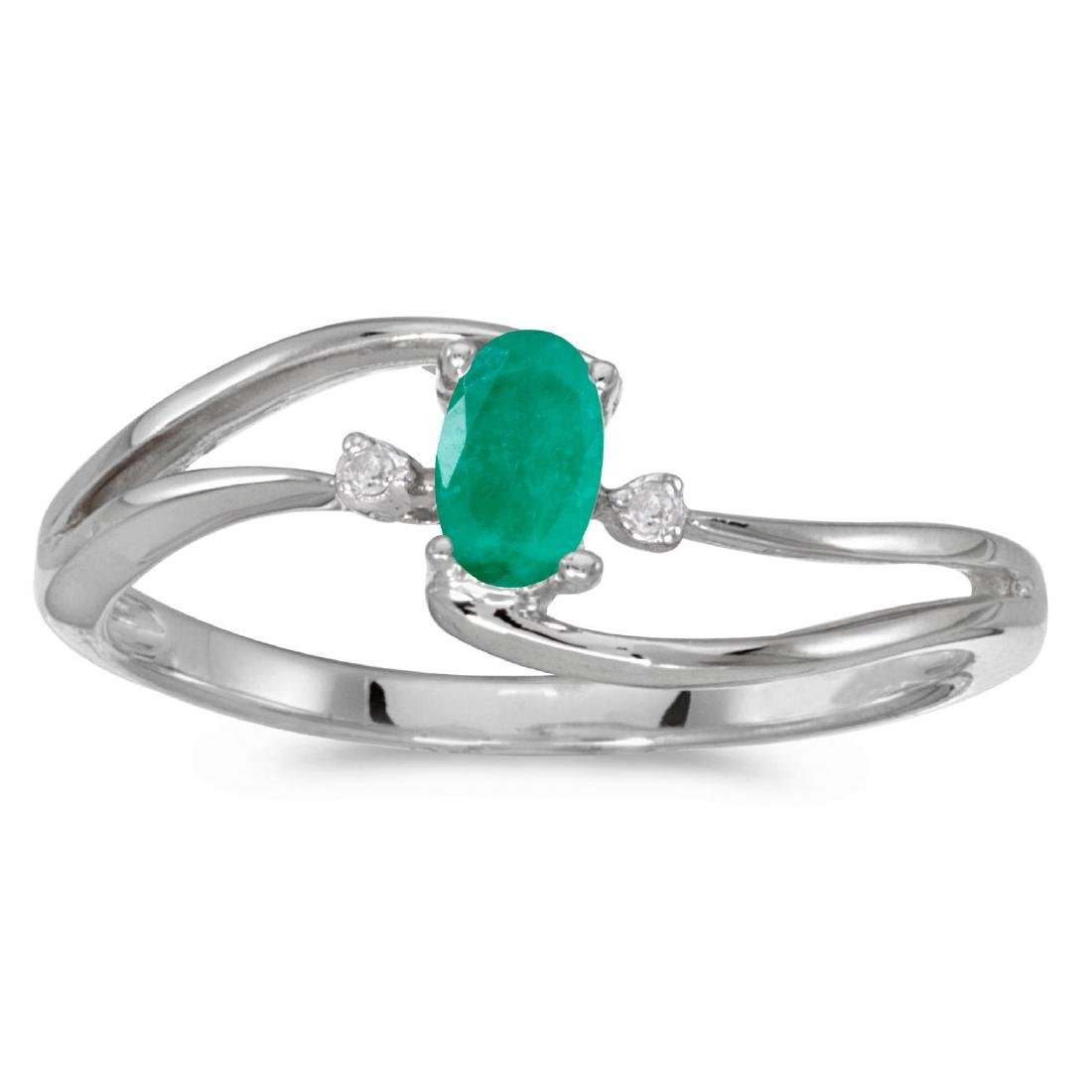 Certified 10k White Gold Oval Emerald And Diamond Wave