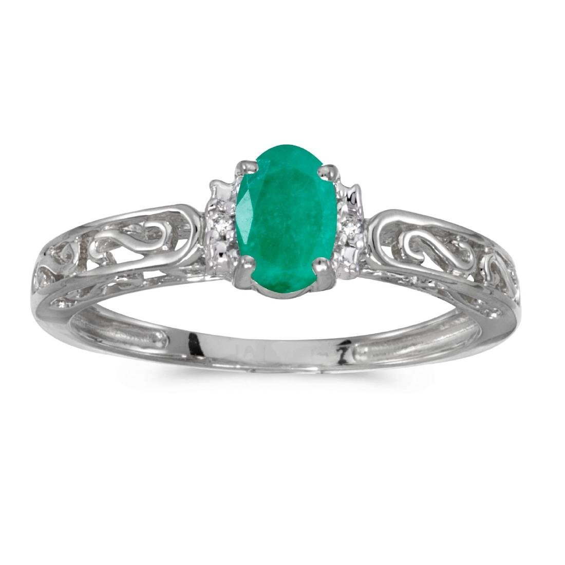 Certified 10k White Gold Oval Emerald And Diamond Ring