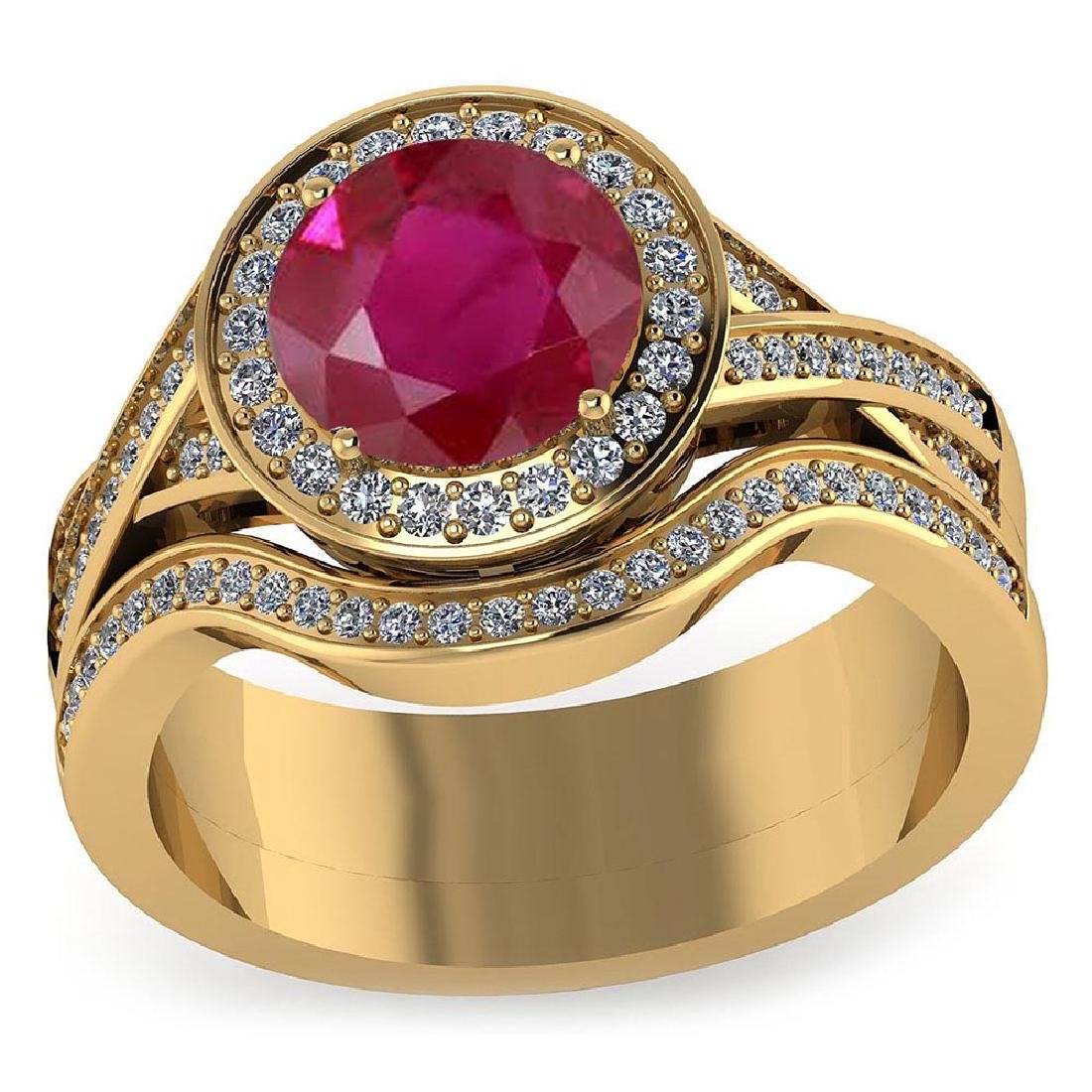 Certified 1.95 CTW Genuine Ruby And Diamond 14K Yellow
