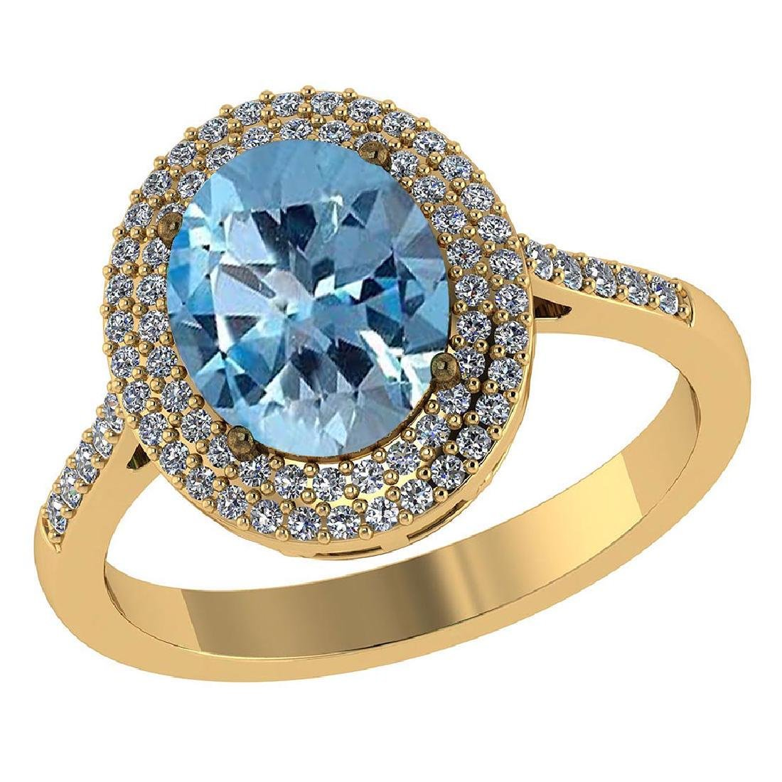 Certified 3.12 CTW Genuine Aquamarine And Diamond 14K Y