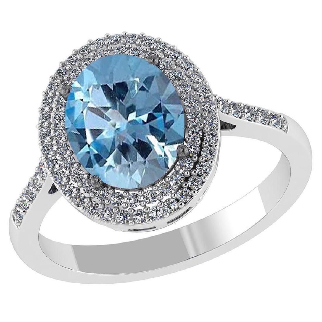 Certified 3.12 CTW Genuine Aquamarine And Diamond 14K W
