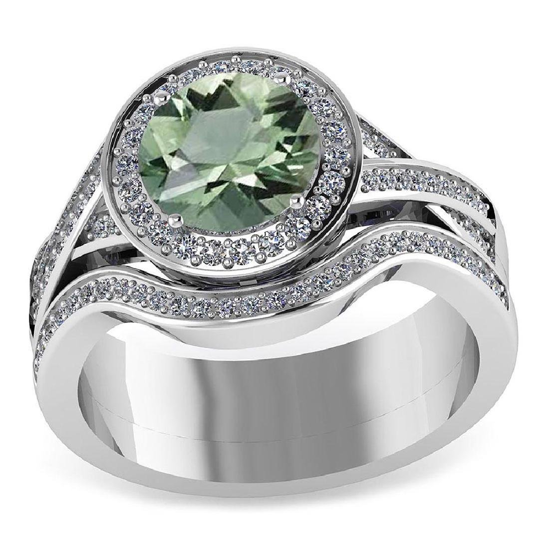 Certified 2.25 CTW Genuine Green Amethyst And Diamond 1