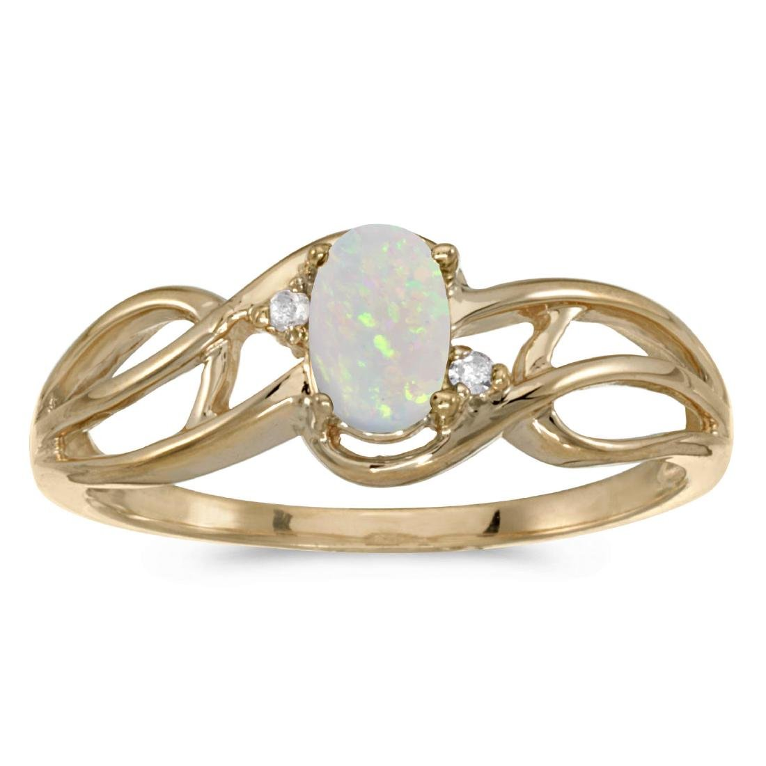 Certified 10k Yellow Gold Oval Opal And Diamond Curve R