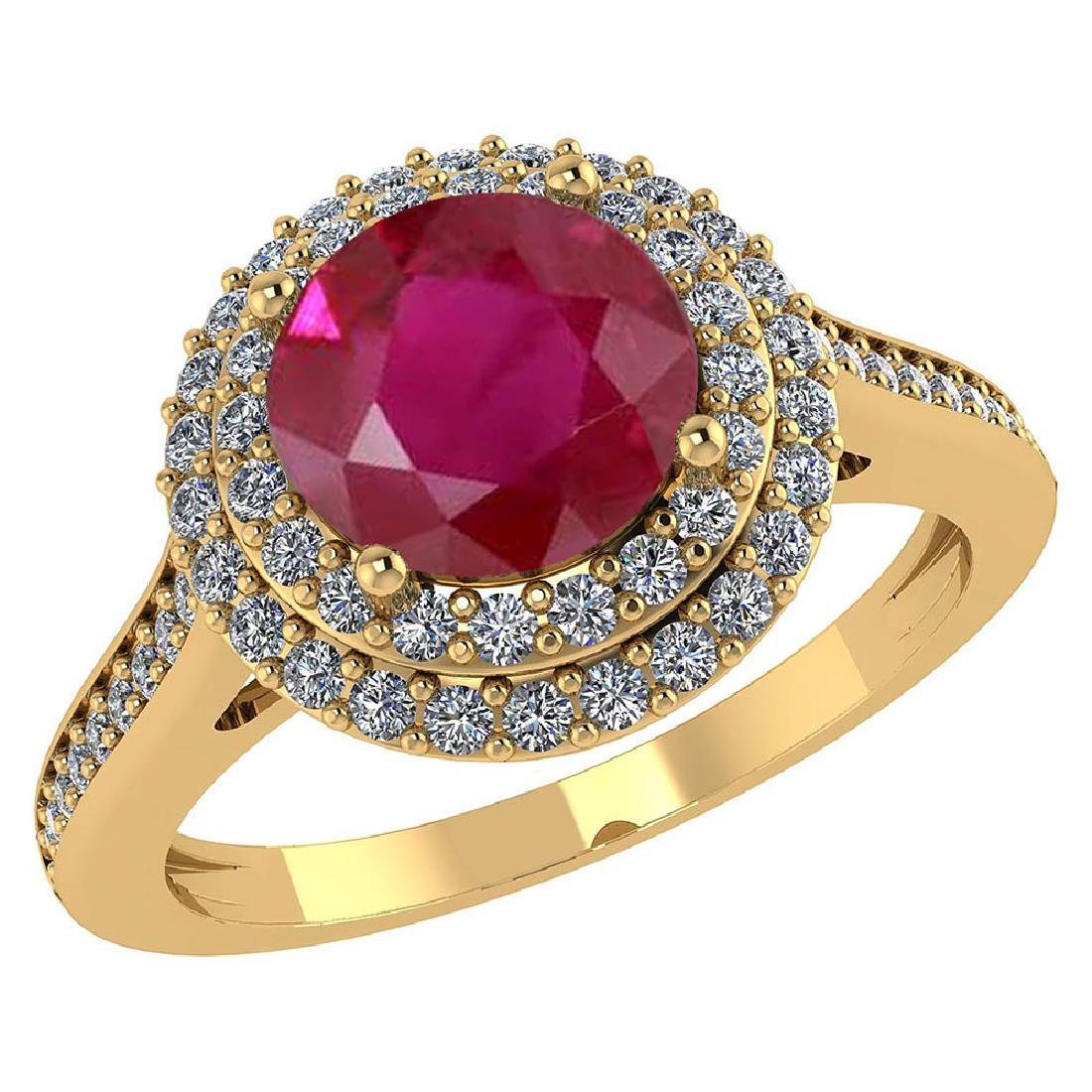 Certified 2.92 CTW Genuine Ruby And Diamond 14K Yellow
