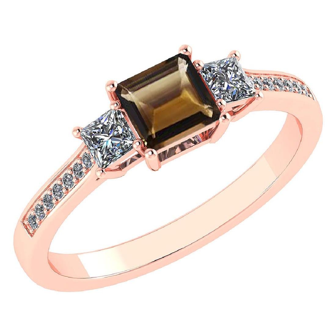 Certified 1.18 CTW Genuine Smoky And Diamond 14K Rose G