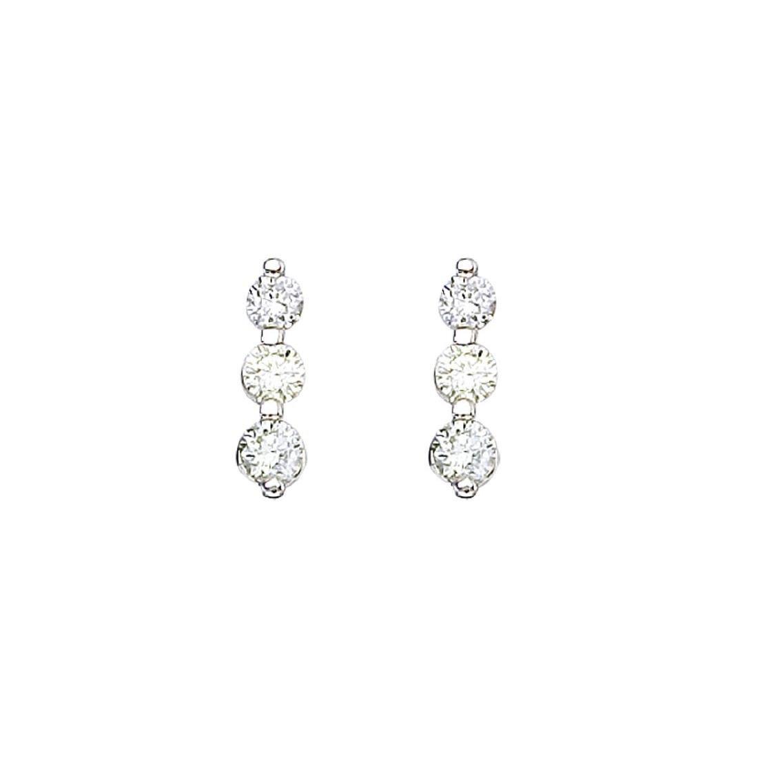 Certified 14k White Gold .50 ct 3 Stone Diamond Earring