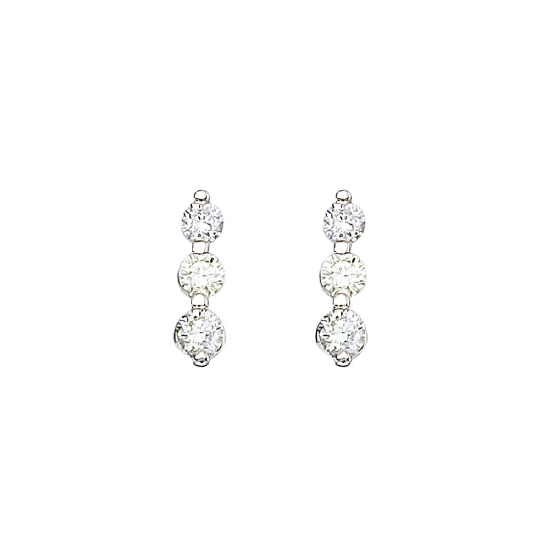 Certified 14k White Gold .50 ct 3 Stone Diamond Earring