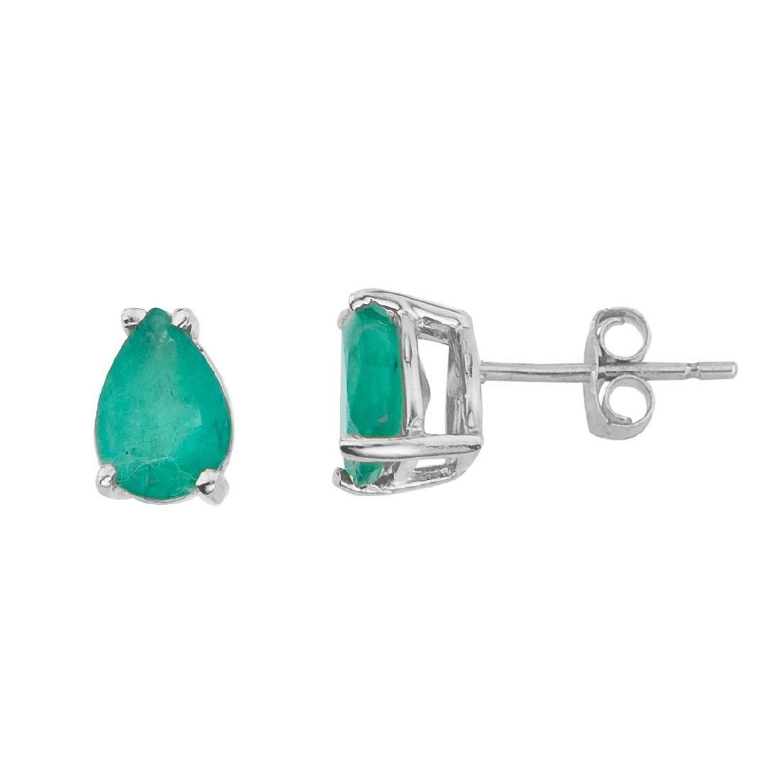 Certified 14k White Gold Pear Shaped Emerald Earrings