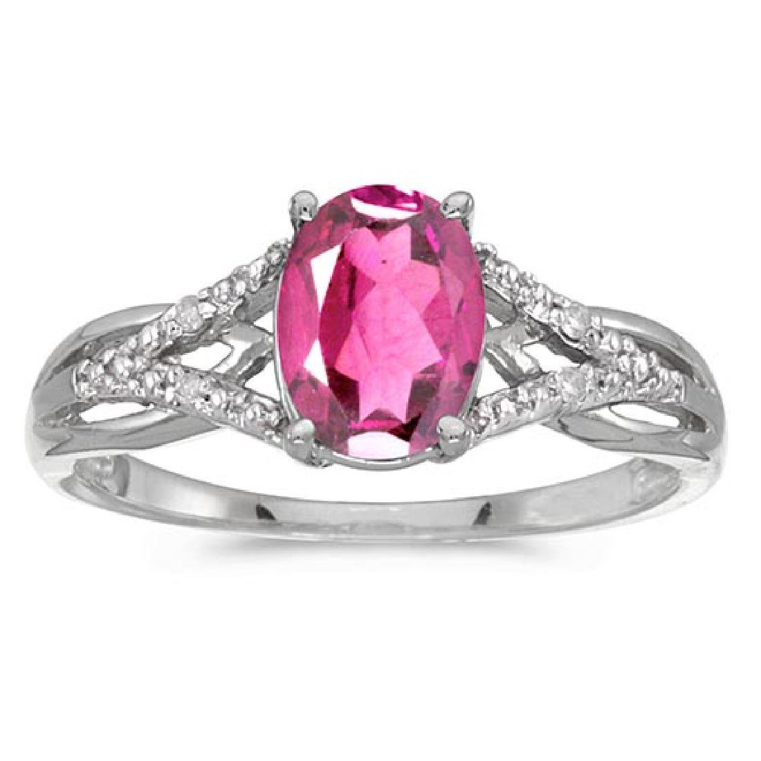 Certified 14k White Gold Oval Pink Topaz And Diamond Ri