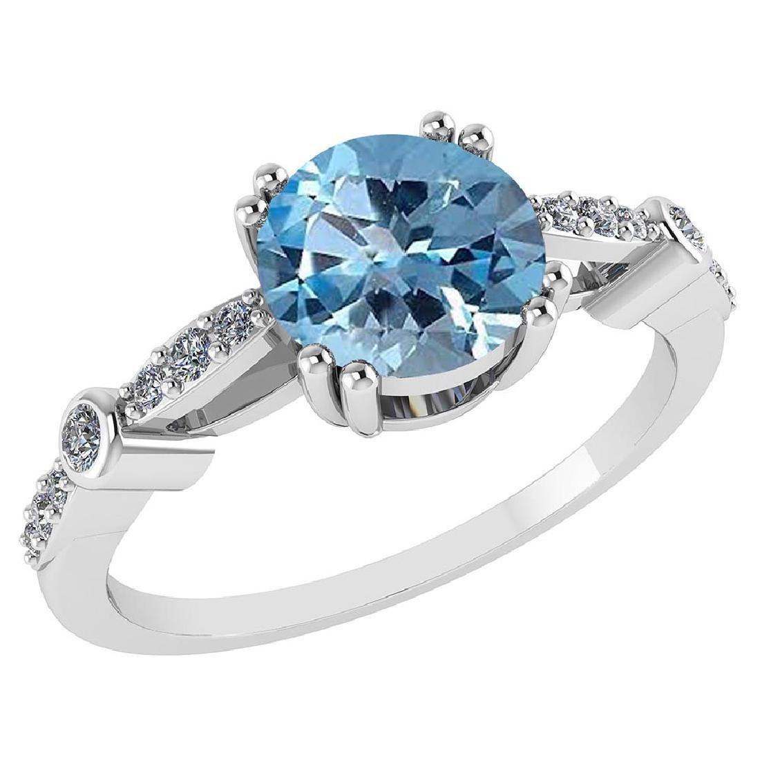 Certified .88 CTW Genuine Aquamarine And Diamond 14K Wh