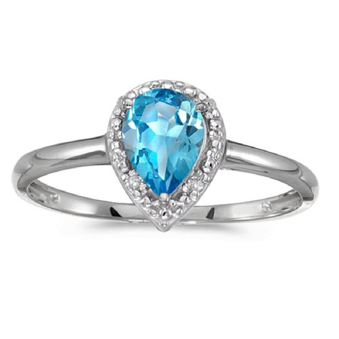 Certified 14k White Gold Pear Blue Topaz And Diamond Ri