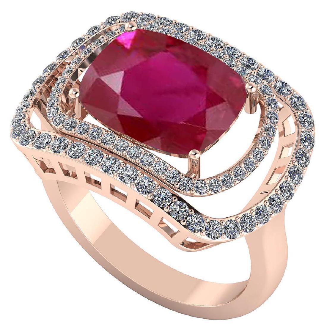 Certified 4.44 CTW Genuine Ruby And Diamond 14K Rose Go