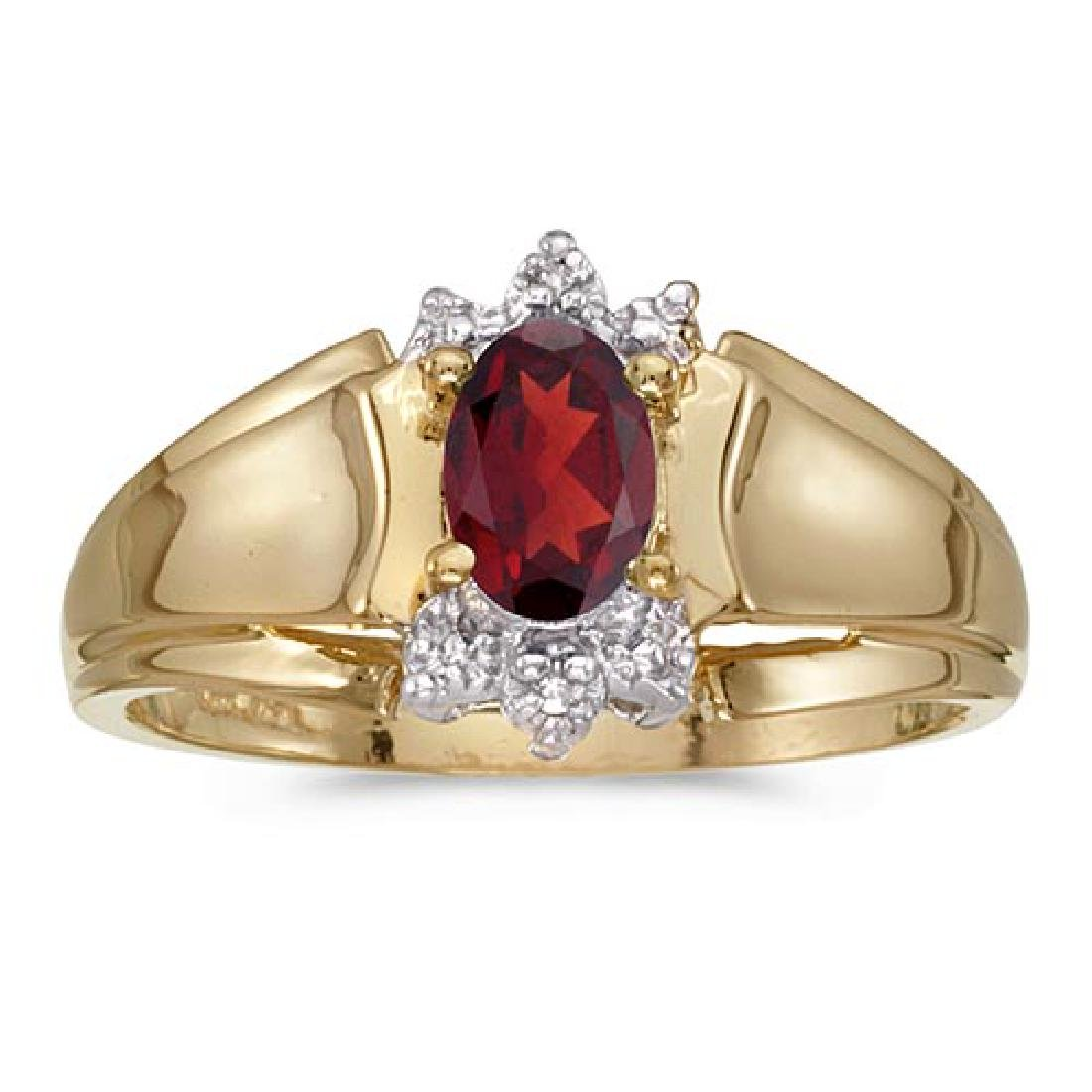 Certified 14k Yellow Gold Oval Garnet And Diamond Ring