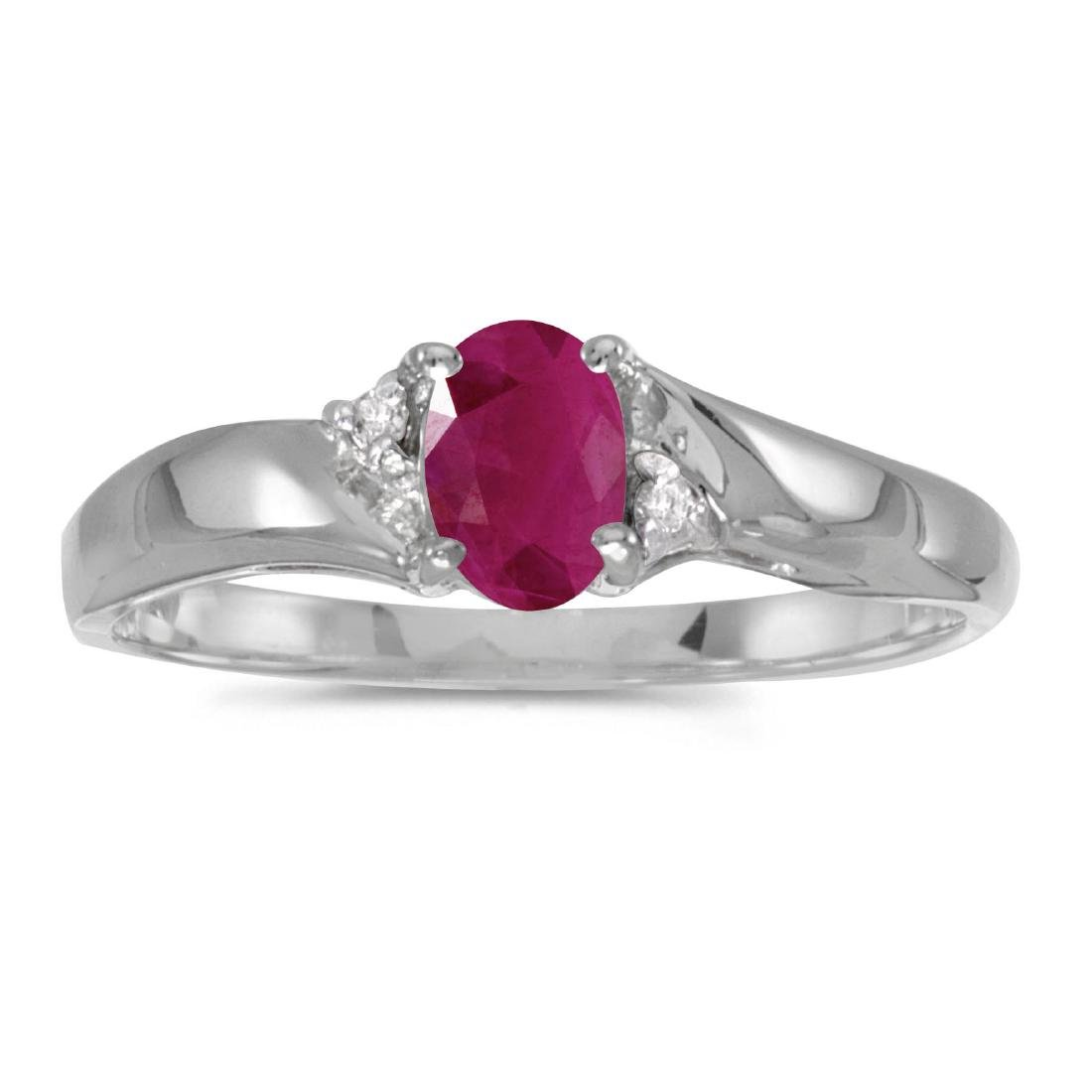 Certified 14k White Gold Oval Ruby And Diamond Ring 0.3