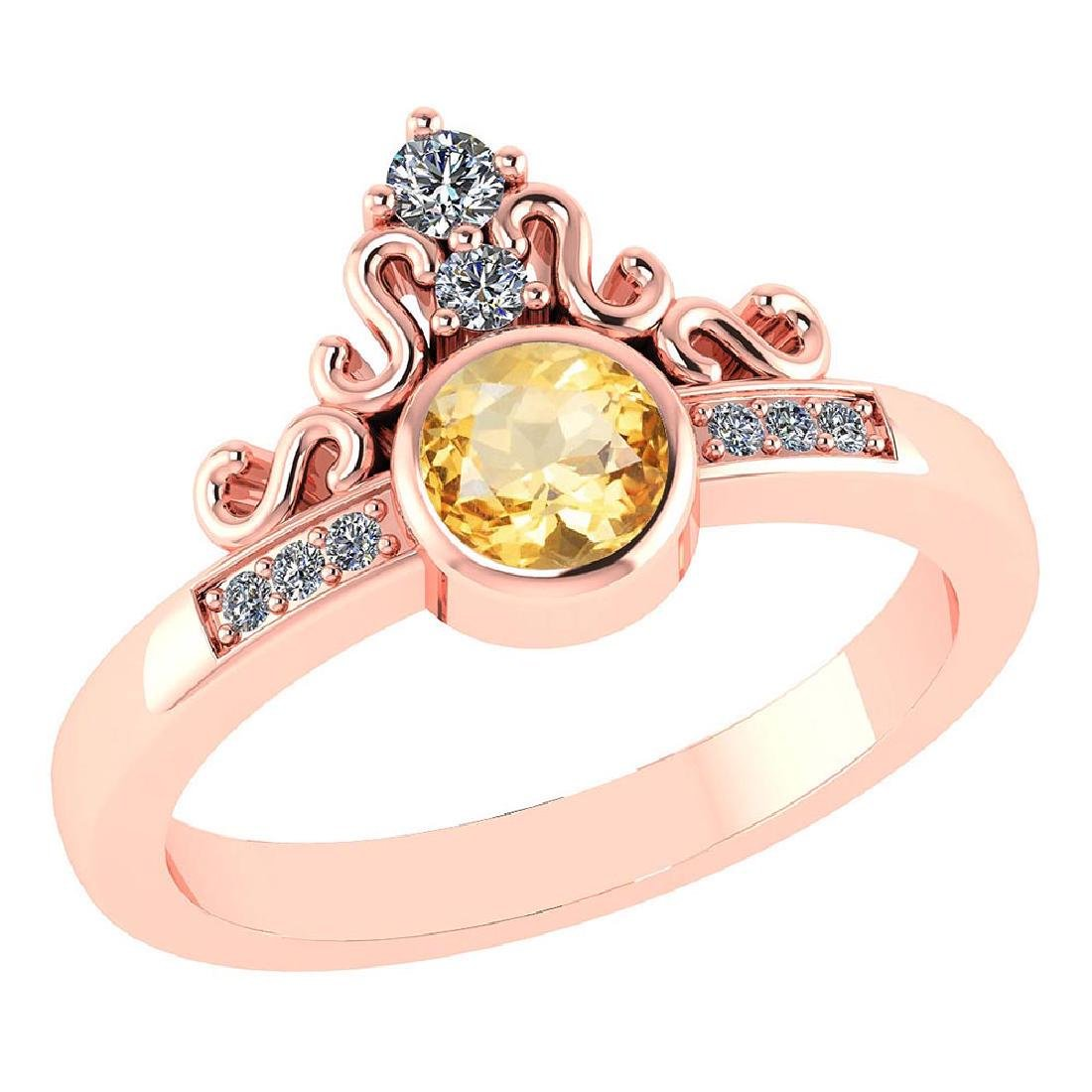 Certified .81 Ctw Genuine Citrine And Diamond 14K Rose