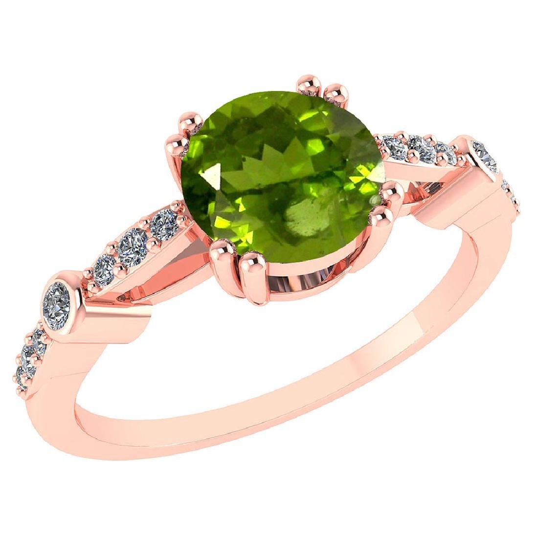 Certified .88 Ctw Genuine Peridot And Diamond 14K Rose