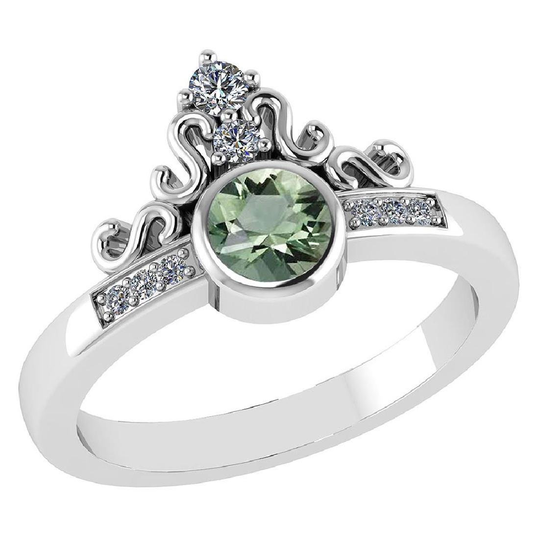Certified .81 Ctw Genuine Green Amethyst And Diamond 14