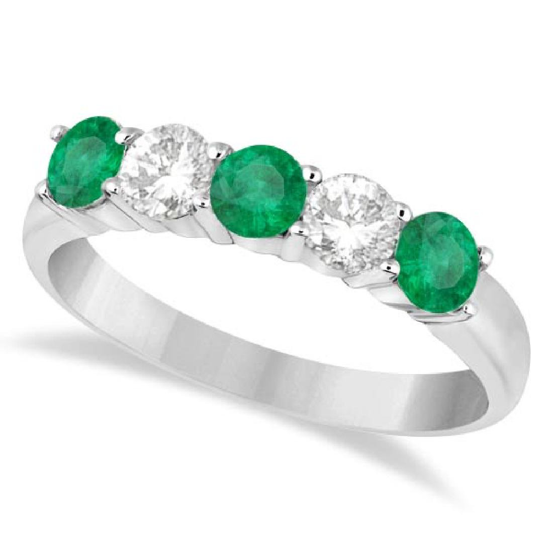 Five Stone Diamond and Emerald Ring 14k White Gold (1.0