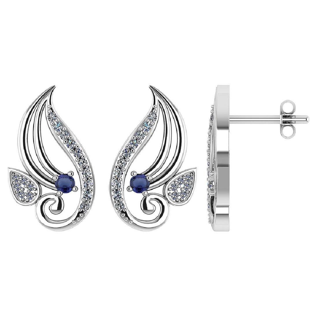 Certified .26 CTW Genuine Blue Sapphire And Diamond 14K