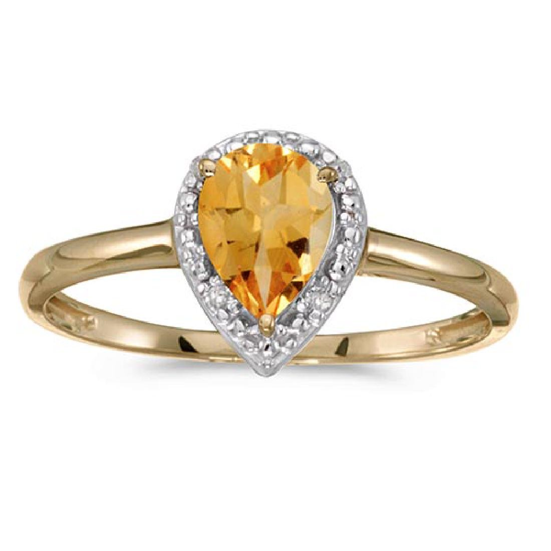 Certified 14k Yellow Gold Pear Citrine And Diamond Ring
