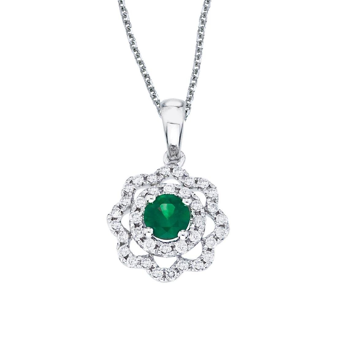 Certified 14k White Gold Emerald and Diamond Round Wave