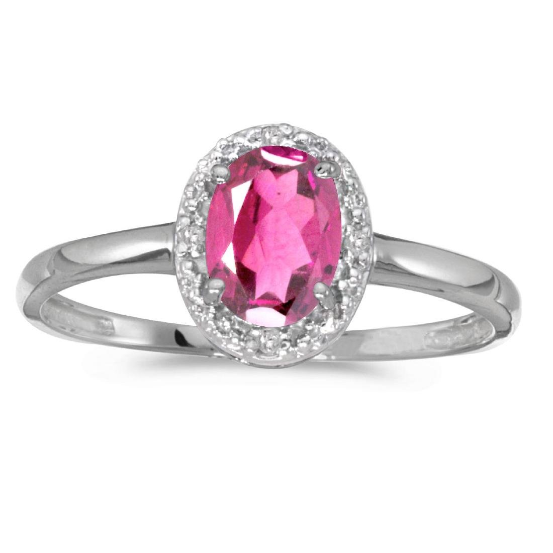 Certified 10k White Gold Oval Pink Topaz And Diamond Ri