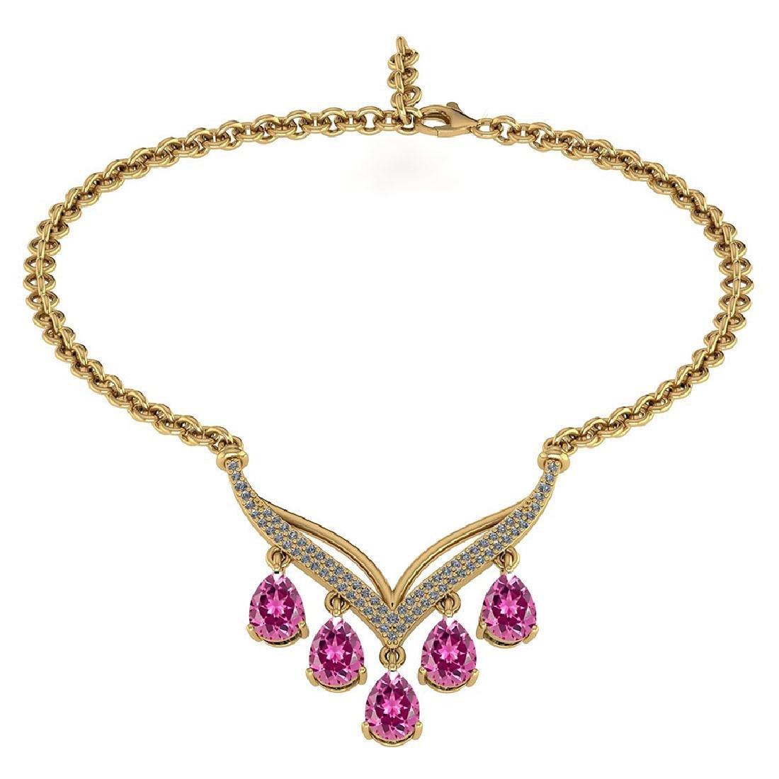 Certified 4.19 CTW Genuine Pink Tourmaline And Diamond