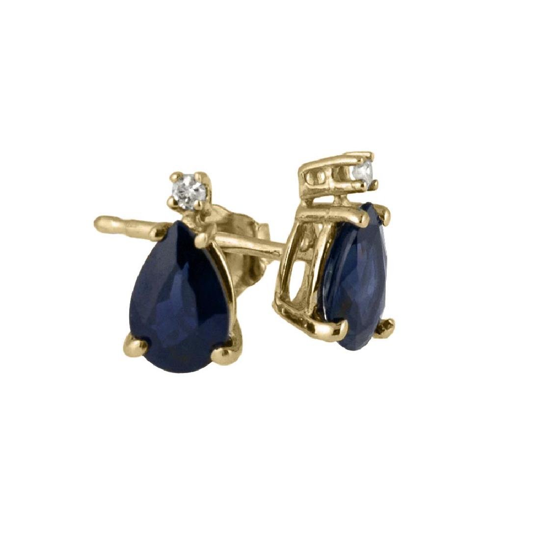 Certified 14k Yellow Gold Pear Shaped Sapphire And Diam