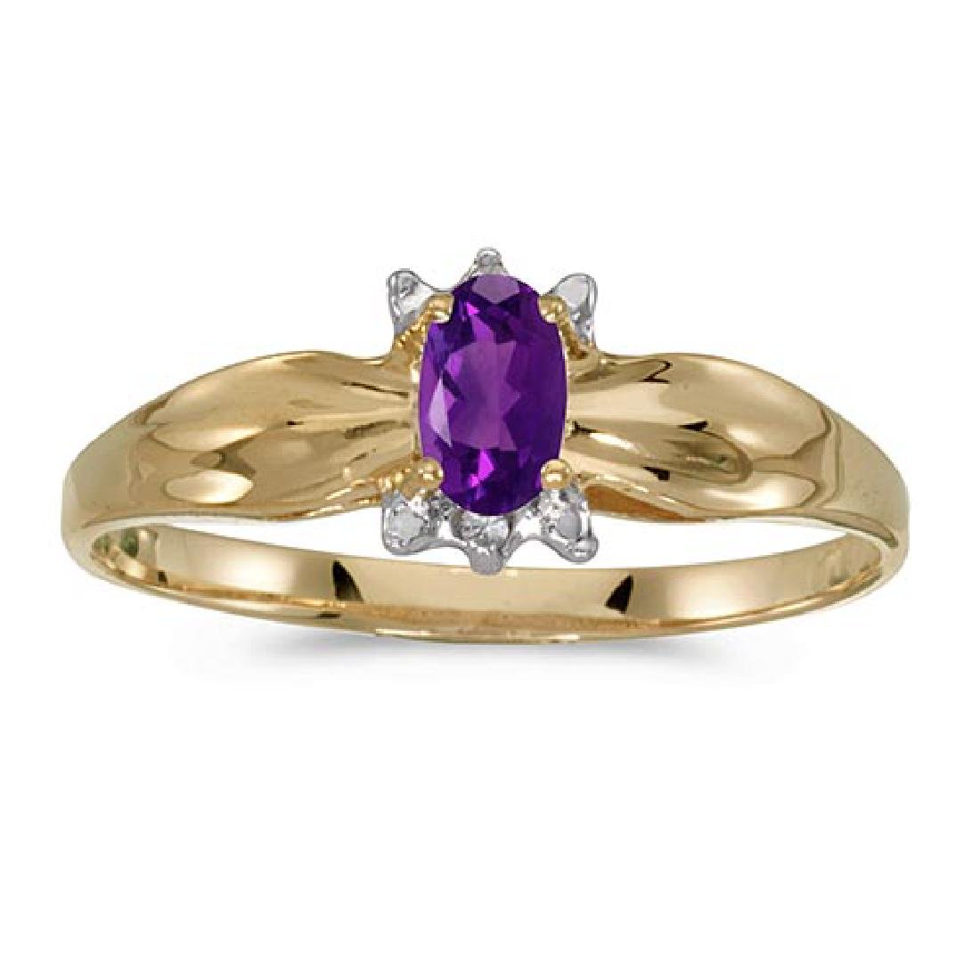 Certified 10k Yellow Gold Oval Amethyst And Diamond Rin