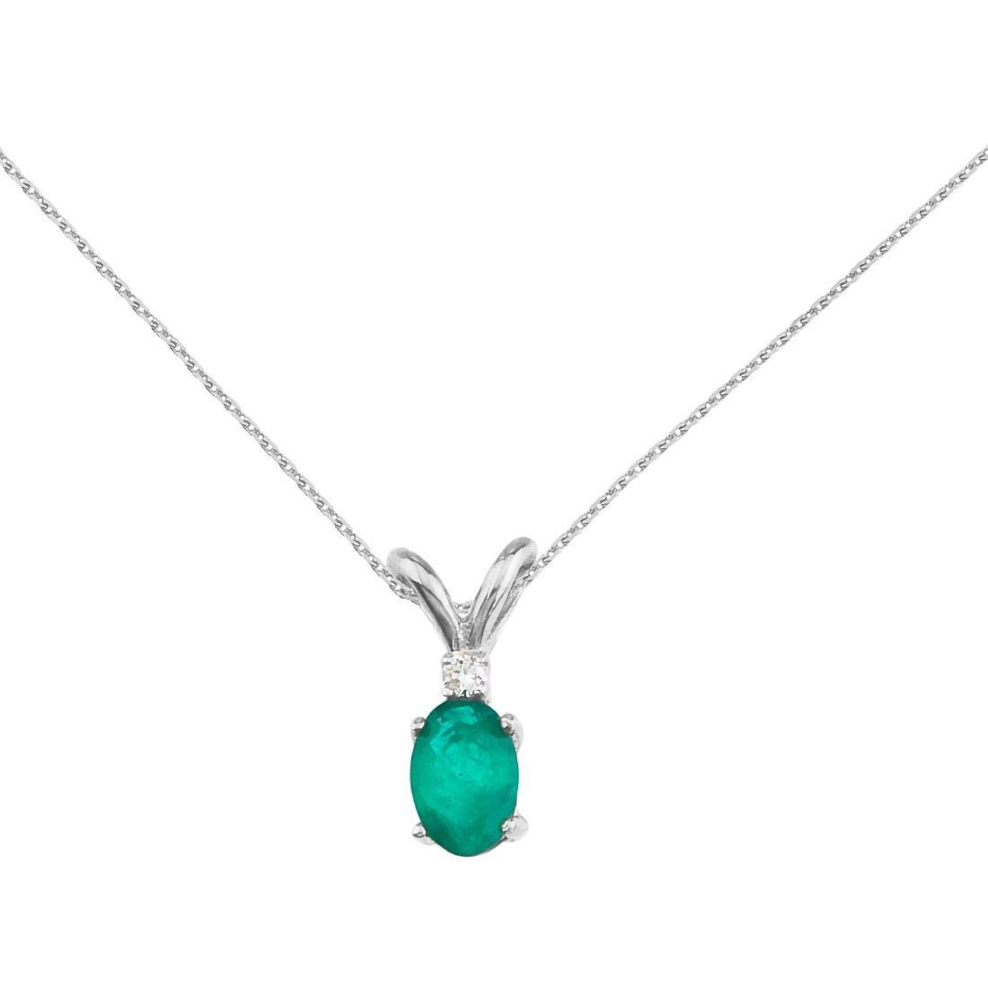 Certified 14k White Gold Emerald and Diamond Oval Penda