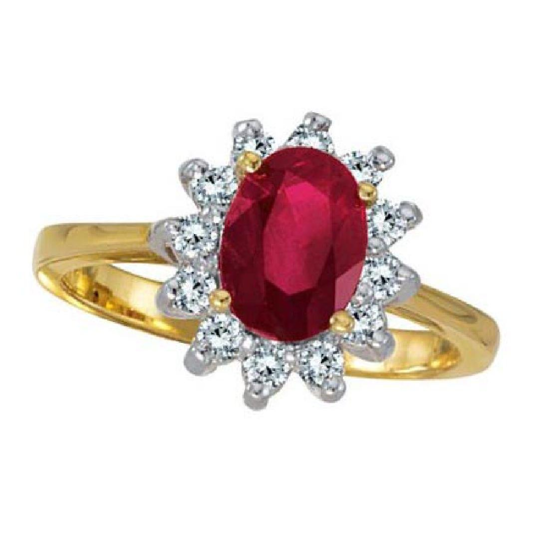Lady Diana Oval Ruby and Diamond Ring 14k Yellow Gold (