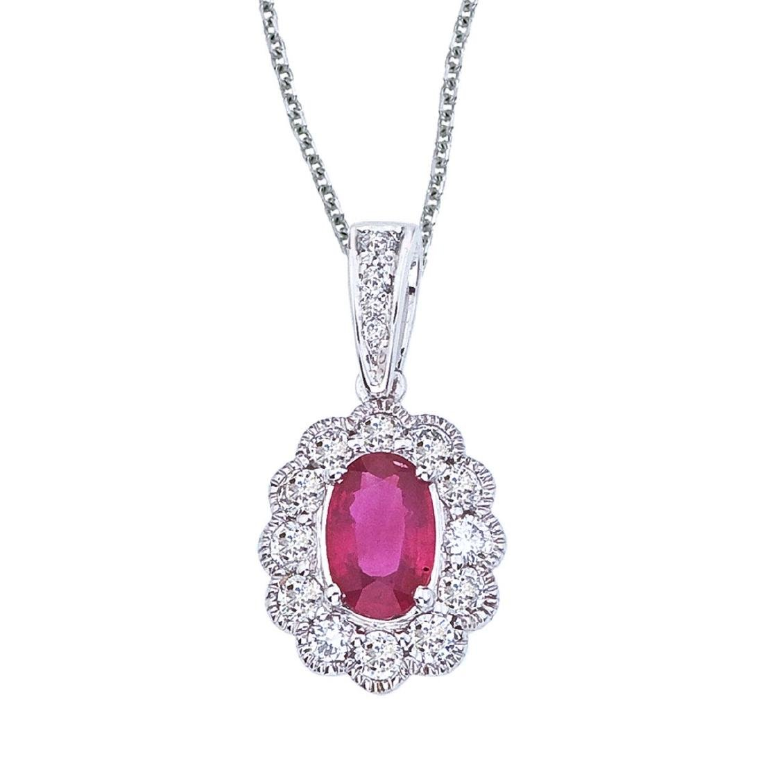 Certified 14k White Gold Ruby and Diamond Oval Pendant