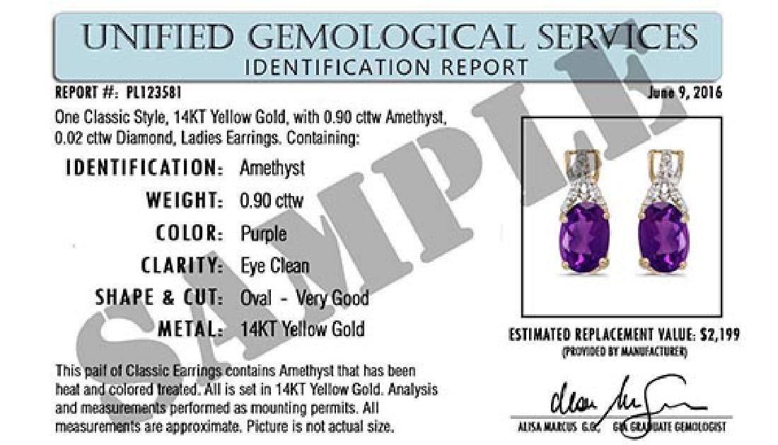 Certified .26 CTW Genuine Amethyst And Diamond 14K Yell - 2