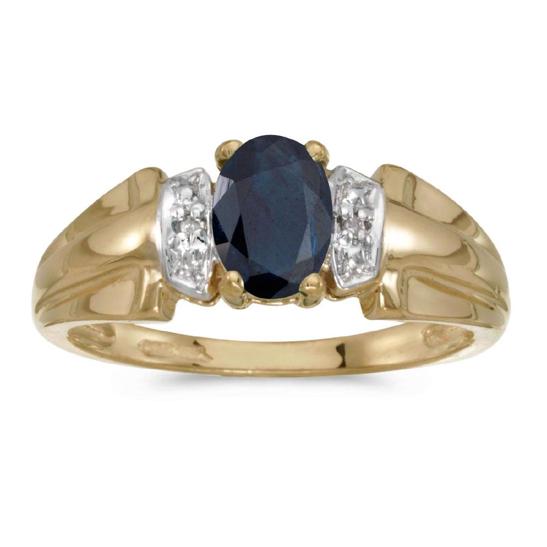 Certified 10k Yellow Gold Oval Sapphire And Diamond Rin