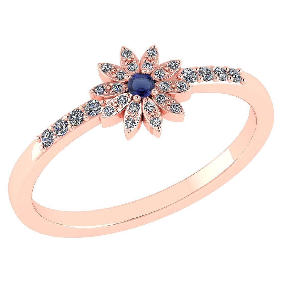 Certified .16 CTW Genuine Blue Sapphire And Diamond 14K