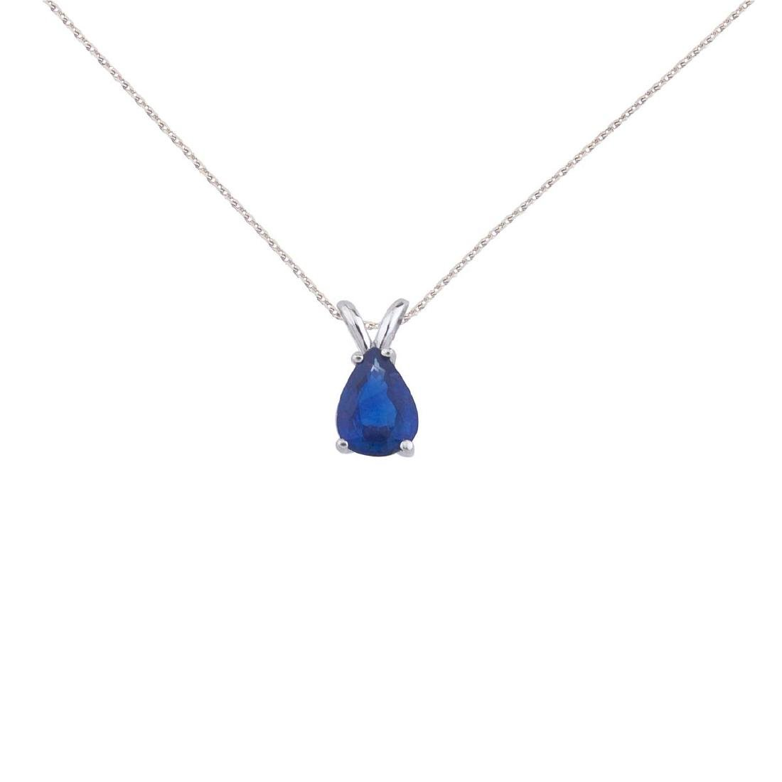 Certified 14k White Gold Pear Shaped Sapphire Pendant a