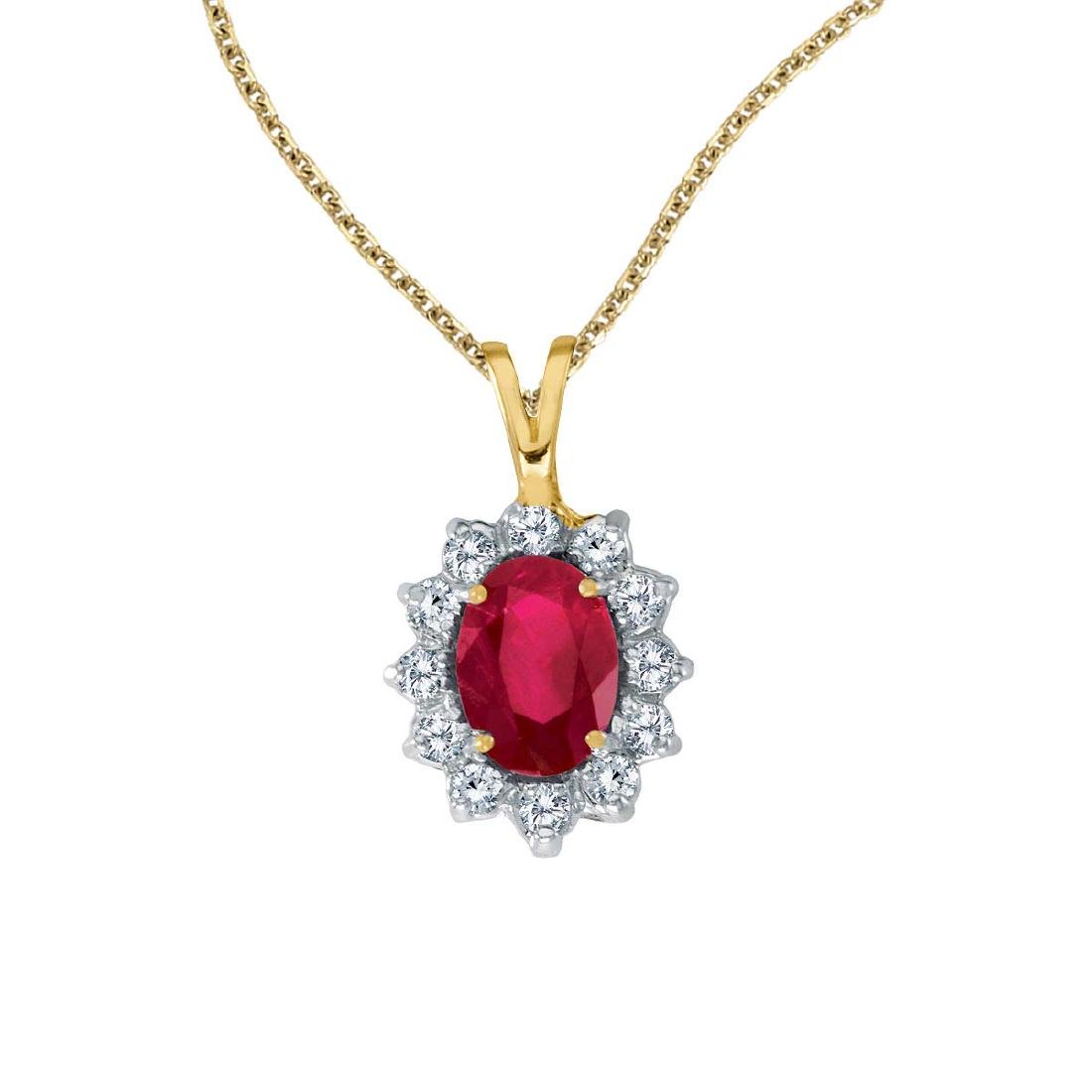 Certified 14k Yellow Gold Oval Ruby Pendant with Diamon