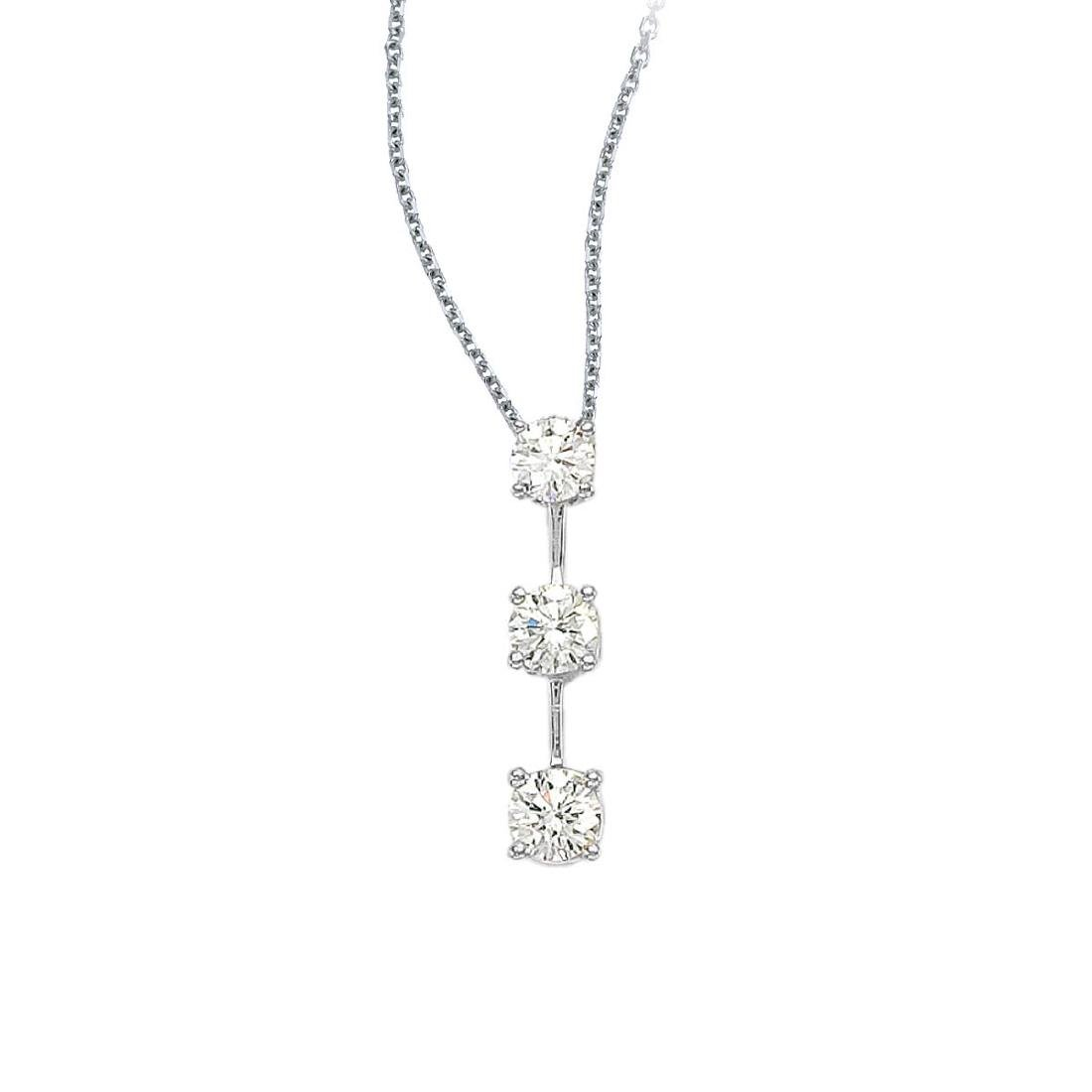 Certified 14k White Gold 3 Stone Diamond Drop Pendant