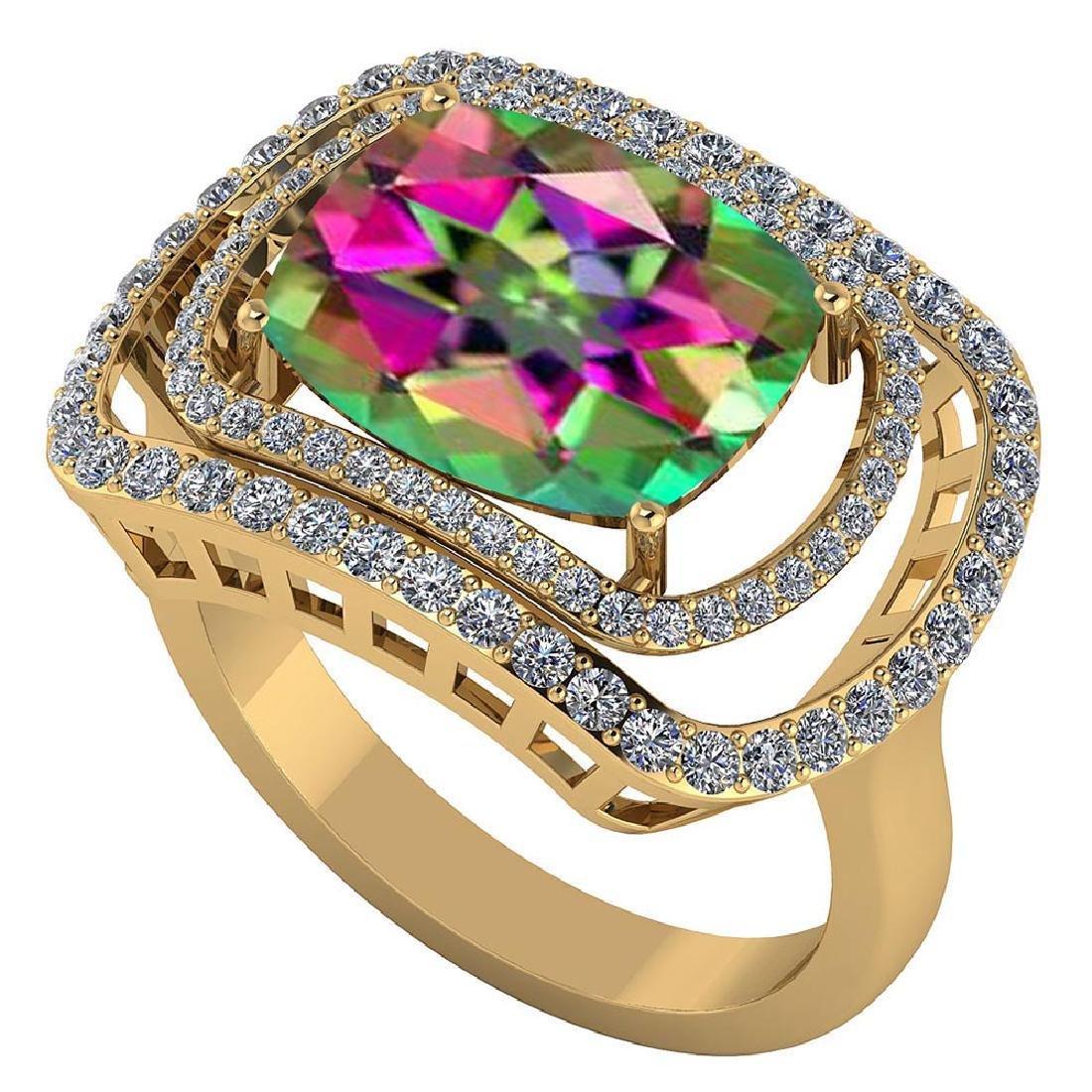 Certified 3.60 CTW Genuine Mystic Topaz And Diamond 14K