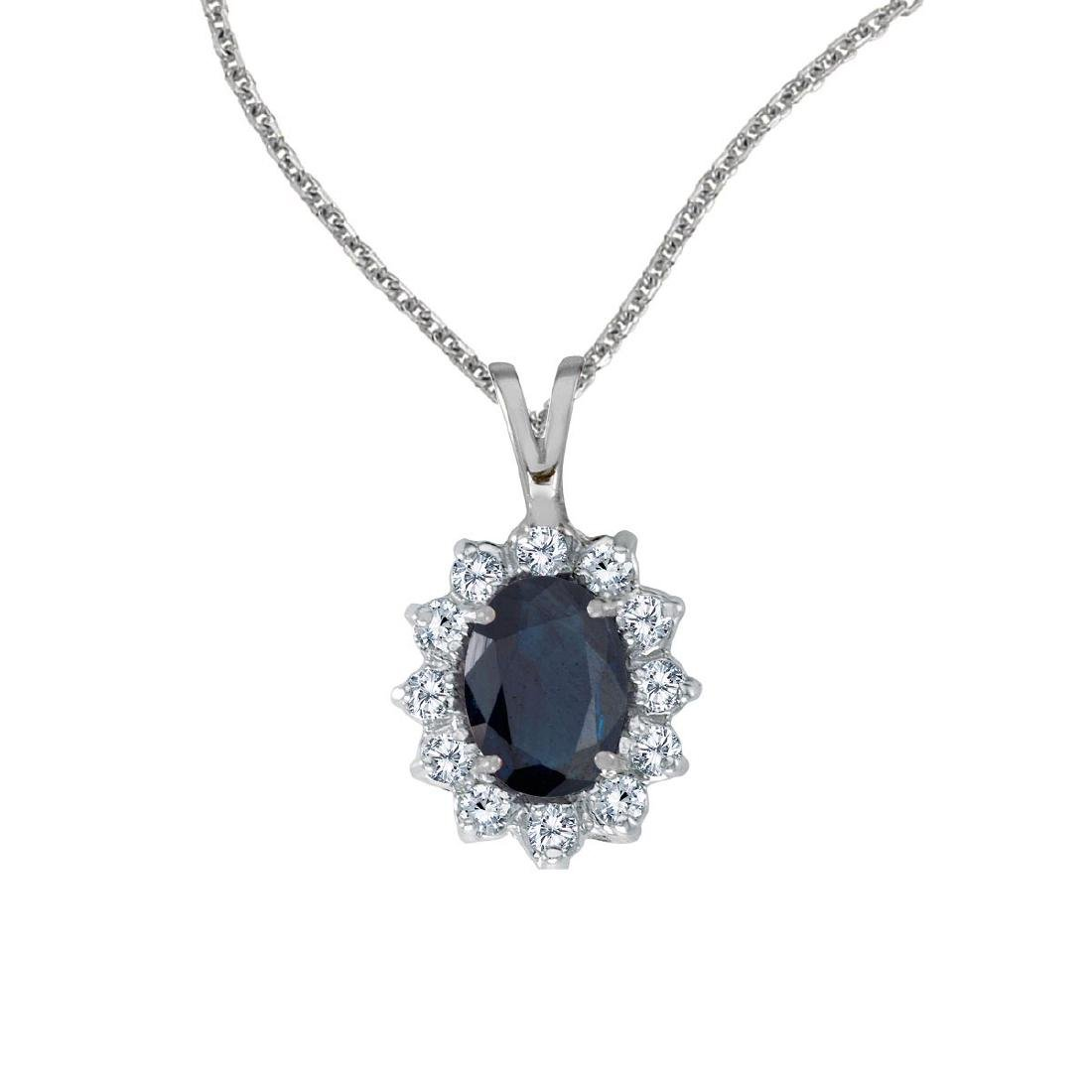 Certified 14k White Gold Oval Sapphire Pendant with Dia