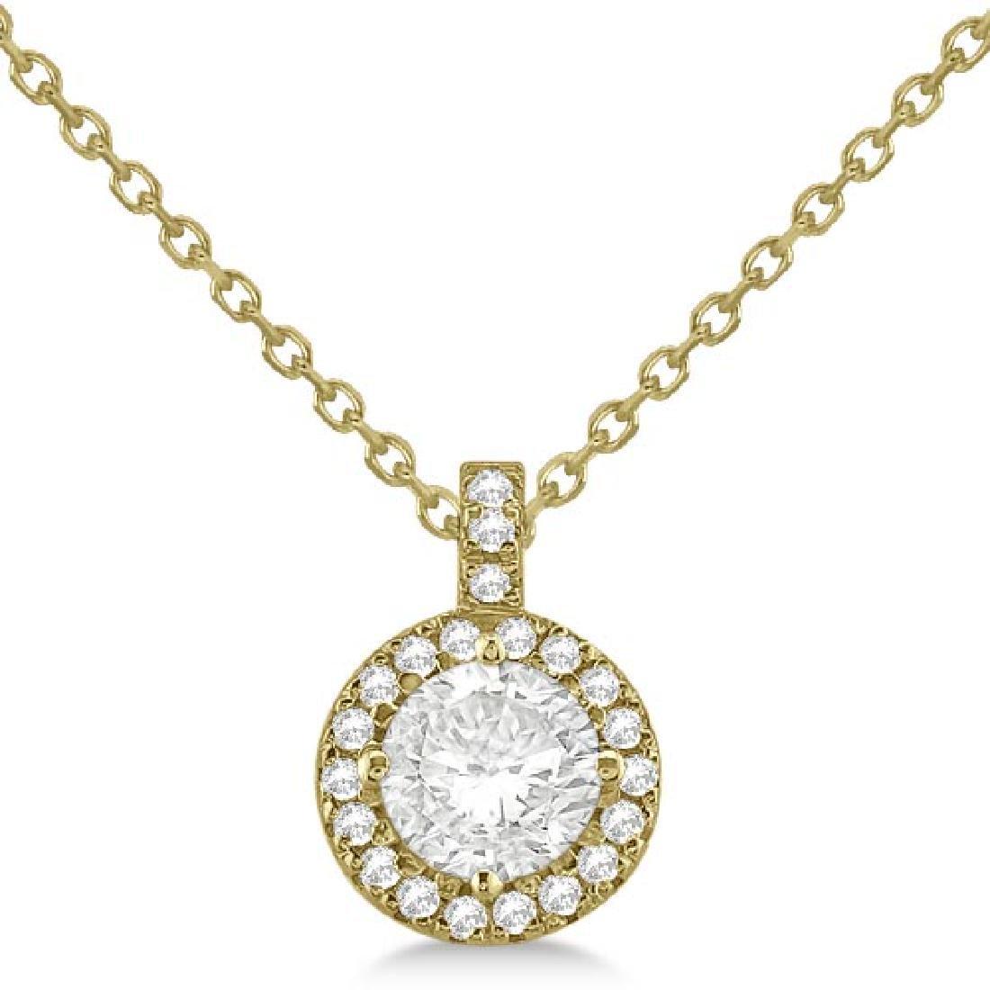 Diamond Halo Pendant Necklace Round Solitaire 14k Yello