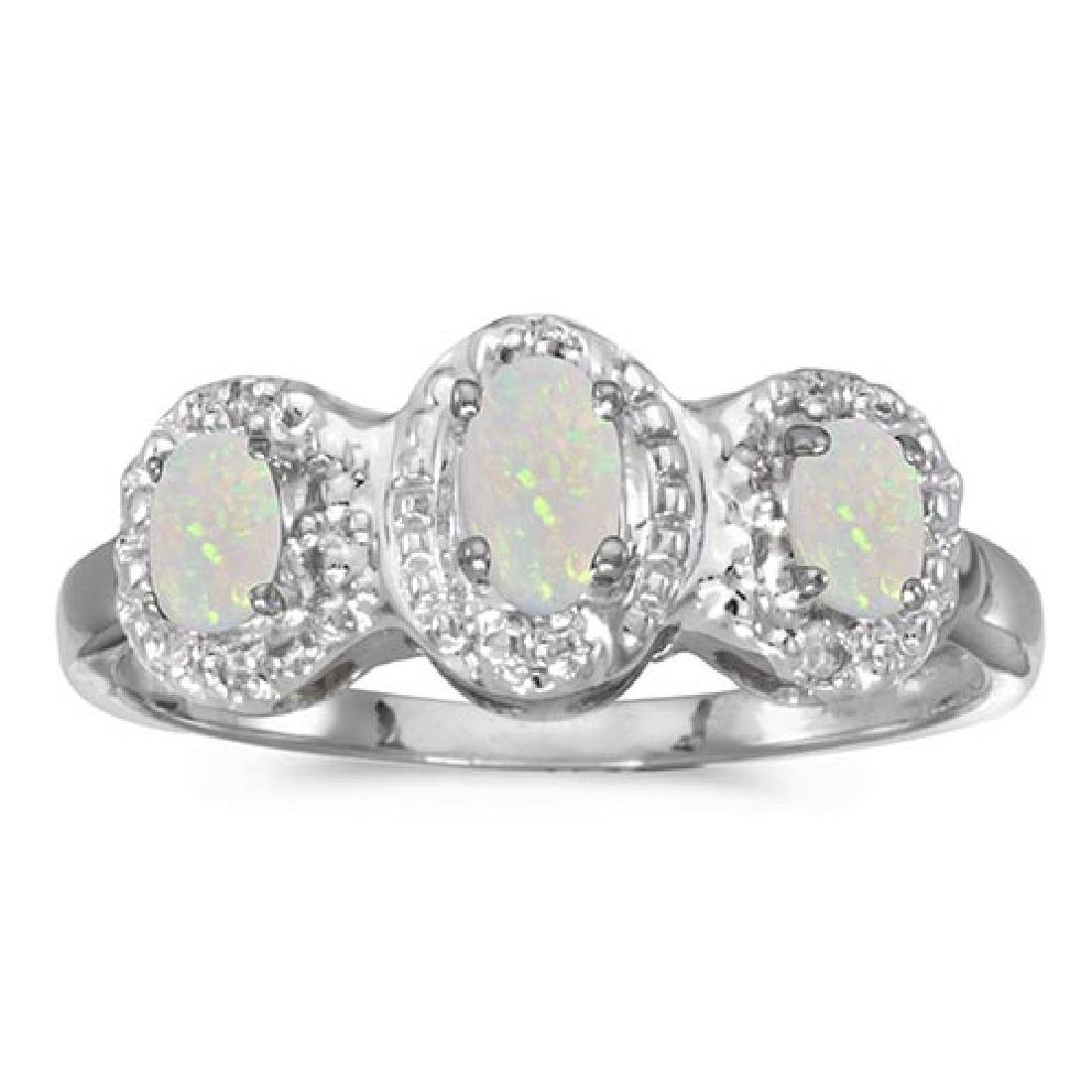 Certified 14k White Gold Oval Opal And Diamond Three St