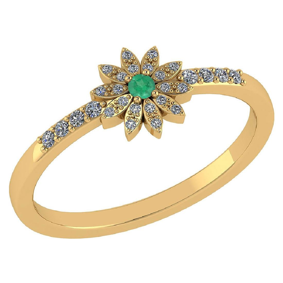 Certified .16 CTW Genuine Emerald And Diamond 14K Yello